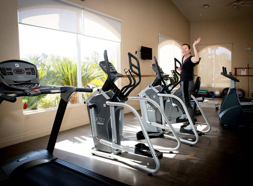 A Las Vegas Motorcoach Resort community member waves during a workout. (Tonya Harvey Real Estat ...