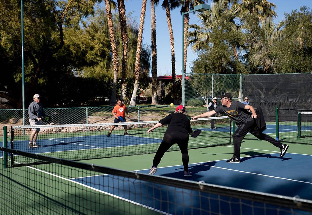 Community members of Las Vegas Motorcoach Resort play pickleball. (Tonya Harvey Real Estate Mil ...