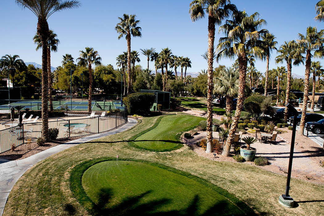Las Vegas Motorcoach Resort features a nine-hole, lighted putting course. (Tonya Harvey Real Es ...