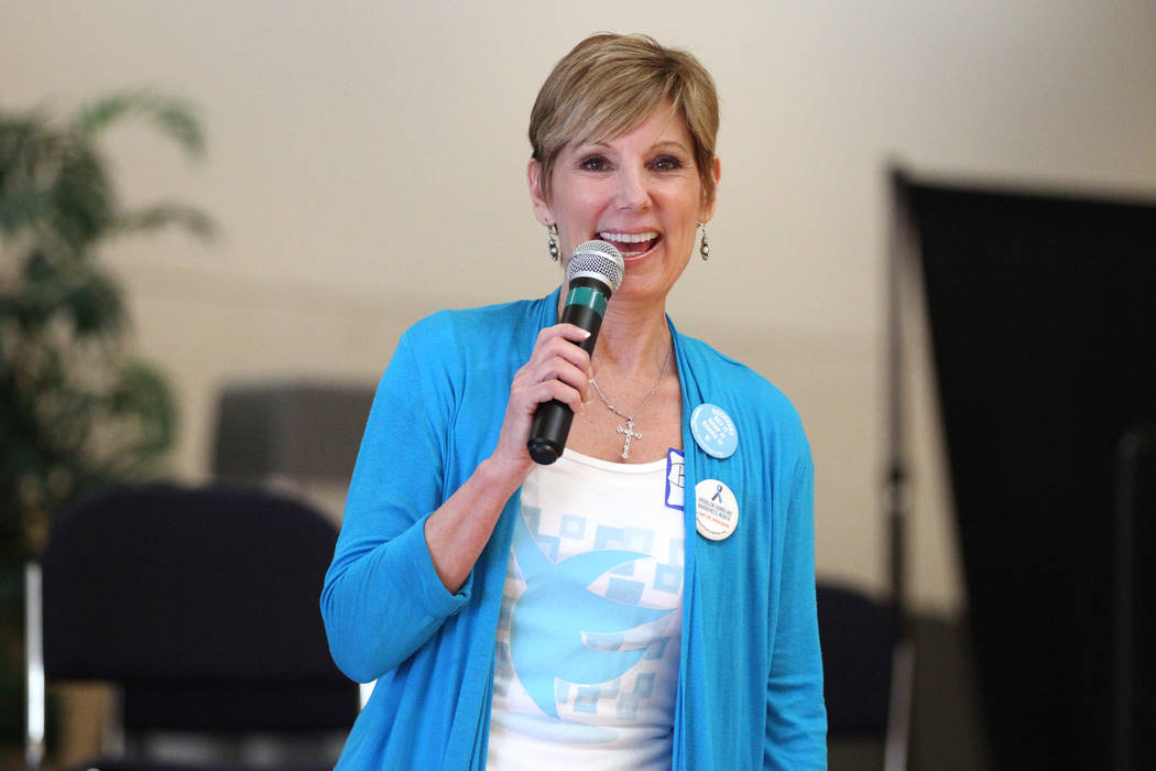 Bea Aikens speaks during the National Problem Gambling Awareness Month event at the East Las Ve ...