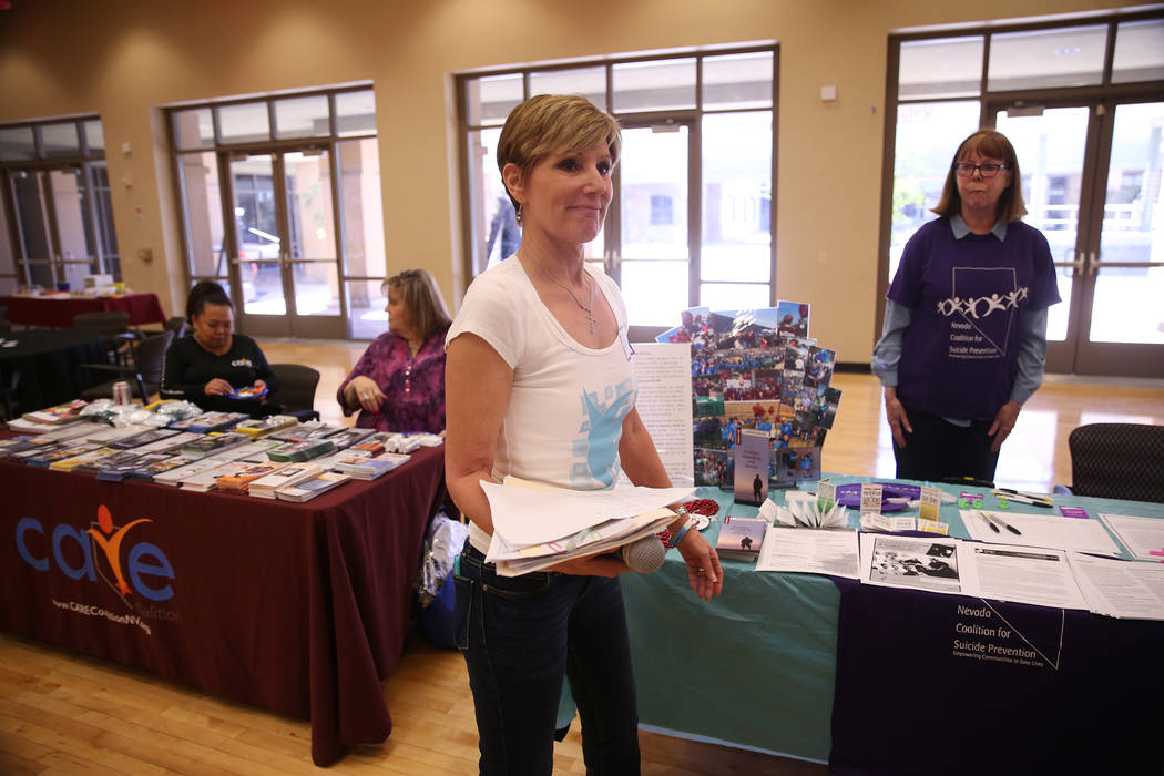 Bea Aikens participates during a National Problem Gambling Awareness Month event at the East La ...