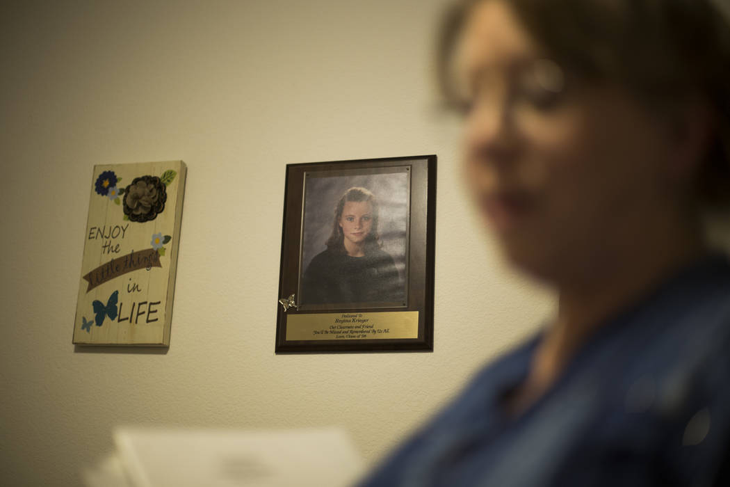 A portrait of Regina Kreiger at her mother Rhonda Hunnel's home in Henderson, Wednesday, March ...