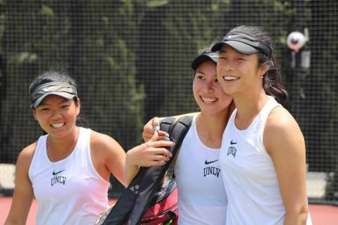 En-Pei Huang, Connie Li and Aiwen Zhu celebrate Saturday after helping UNLV to a 4-3 victory ov ...