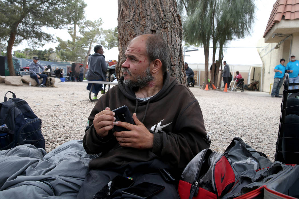 Hachet talks to a reporter at the City of Las Vegas Courtyard Homeless Resource Center Thursday ...
