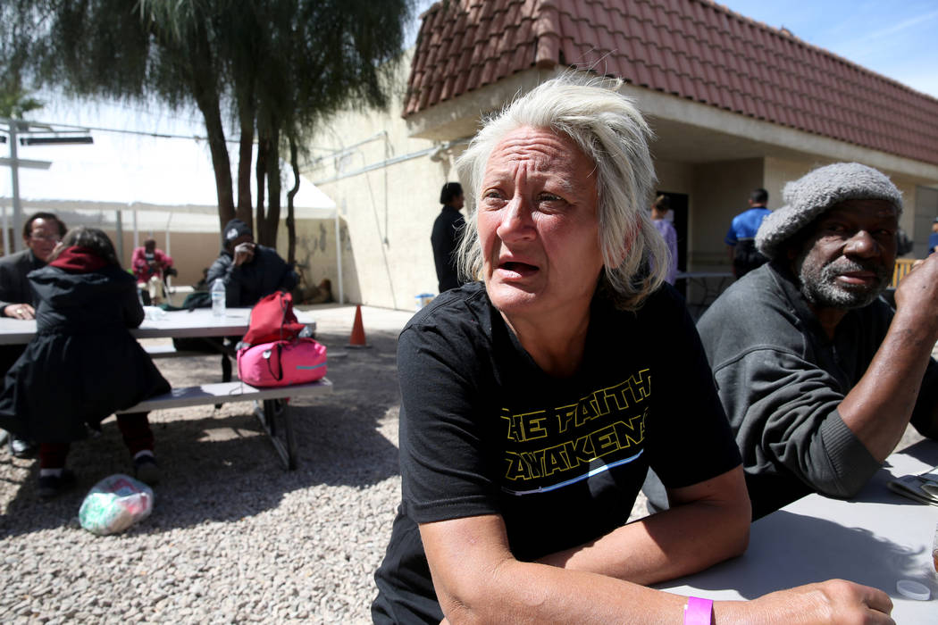 Natoma Zagala, 53, talks to a reporter at the City of Las Vegas Courtyard Homeless Resource Cen ...