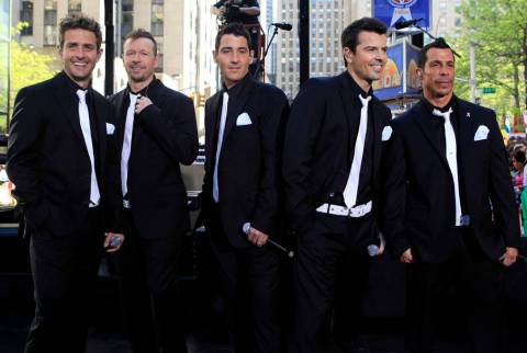 This May 8, 2009 file photo shows members of New Kids on the Block, from left, Joey McIntyre, D ...