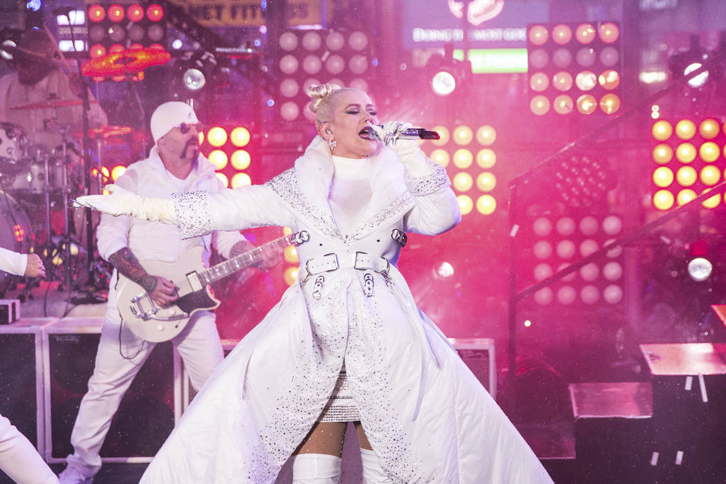Christina Aguilera performs on stage at the New Year's Eve celebration in Times Square on Monda ...