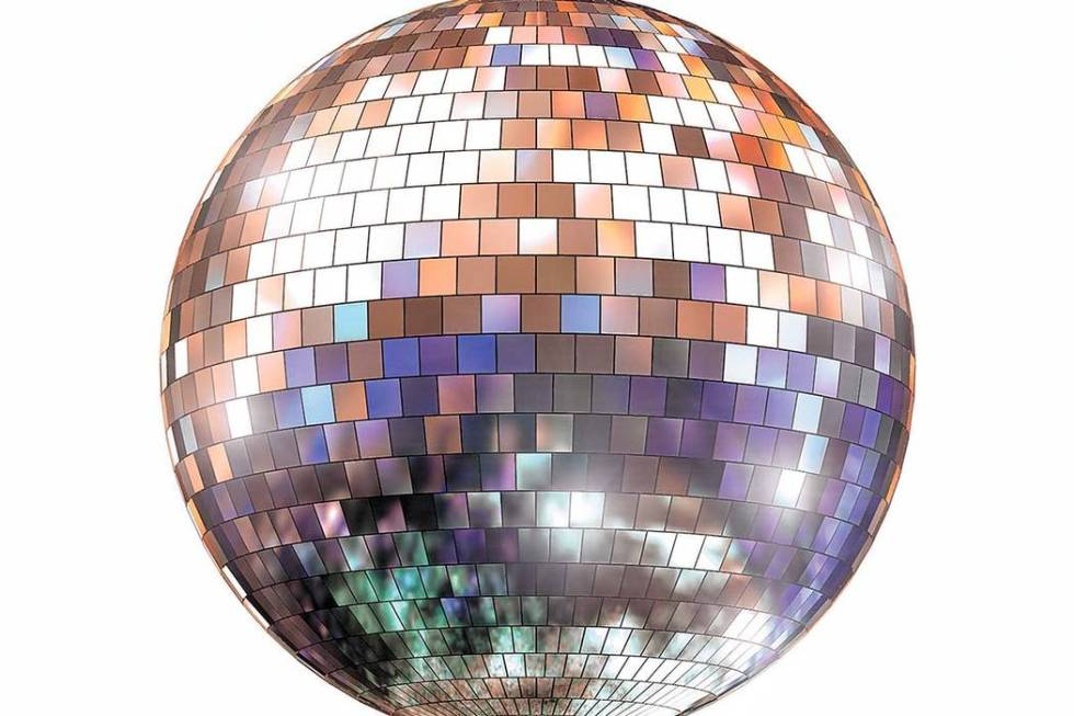 Disco ball with colored reflections