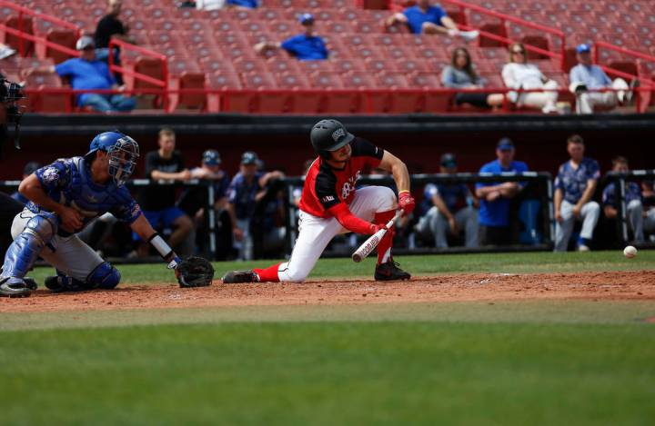 Grant Robbins, shown batting last season, went 2-for-3 with an RBI and scored a run for UNLV in ...