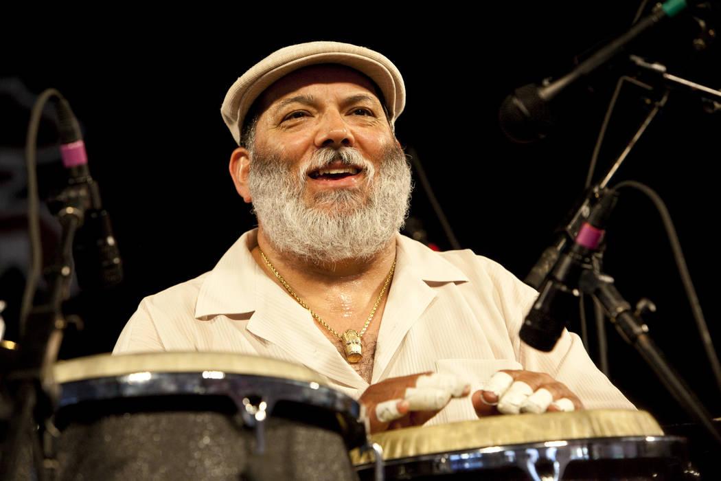 Latin jazz band leader, conga player and salsa singer Poncho Sanchez performing on the WWOZ Jaz ...