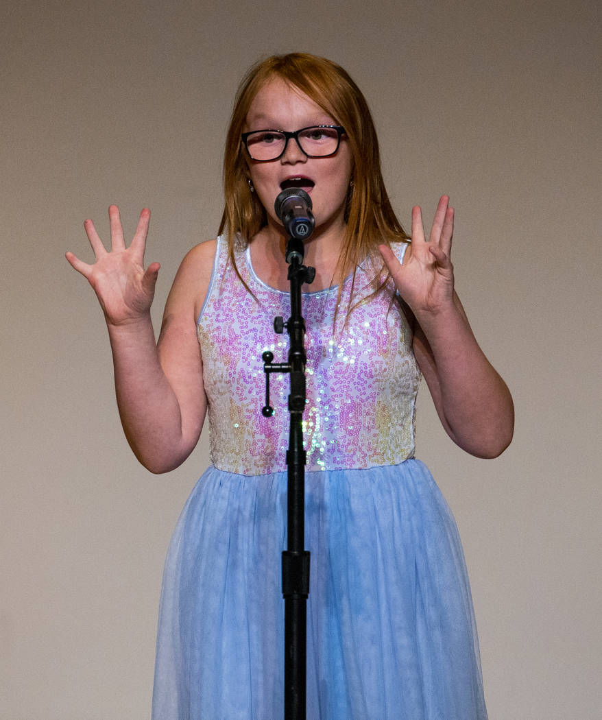 """Forbuss Elementary School student Joyce Harveston performs """"Exclamation Mark!"""" during ..."""