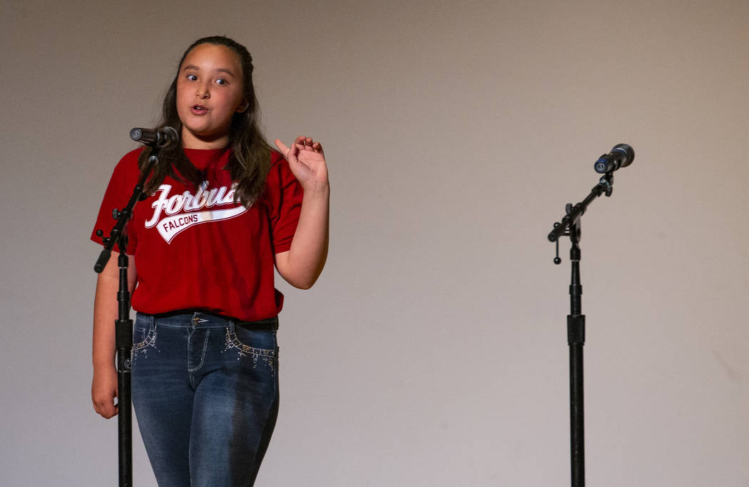 """Forbuss Elementary School student Roxy Martinez performs """"The Little Red Hen"""" during ..."""