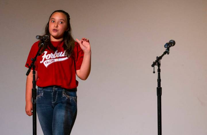 "Forbuss Elementary School student Roxy Martinez performs ""The Little Red Hen"" during ..."