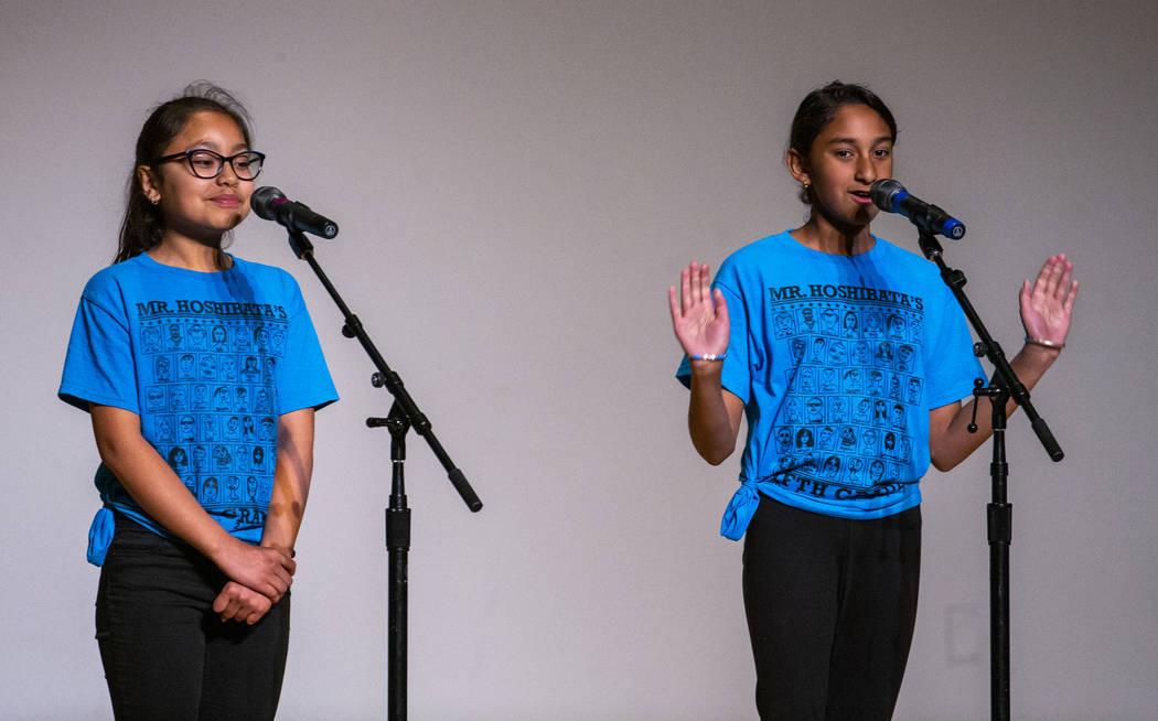 "Goolsby Elementary School students Vanessa Estrada Morales and Aikum Sindhu perform ""The T ..."