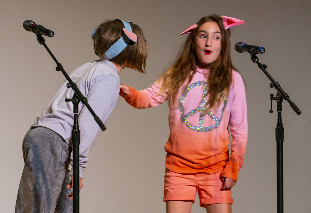 """Goolsby Elementary School students Magnolia Johnson and Gianna Pellicone perform """"I Am a F ..."""