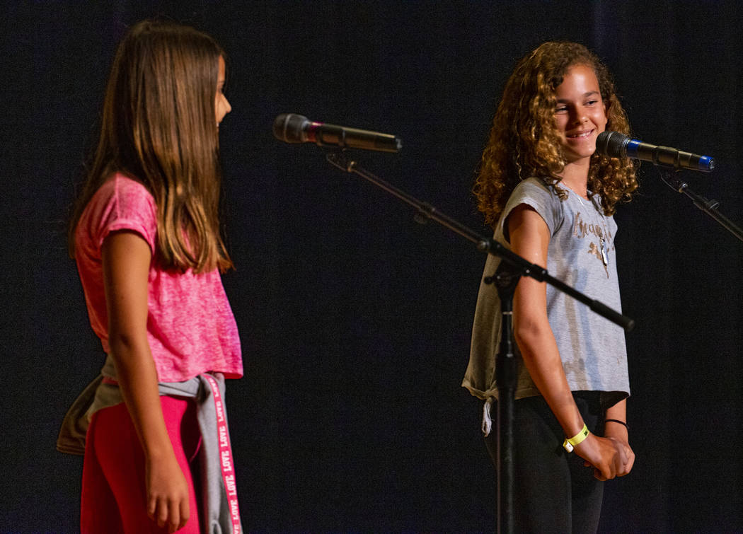 "Goolsby Elementary School students Vanesa Stamatova and Natalie Fontes perform ""My New Fri ..."