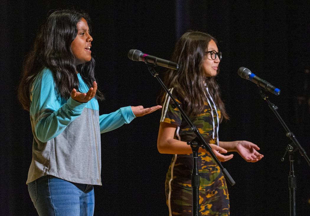 "Hummel Elementary School students Bianka Arana and Aaliyah Payne perform ""Creepy Carrots&q ..."