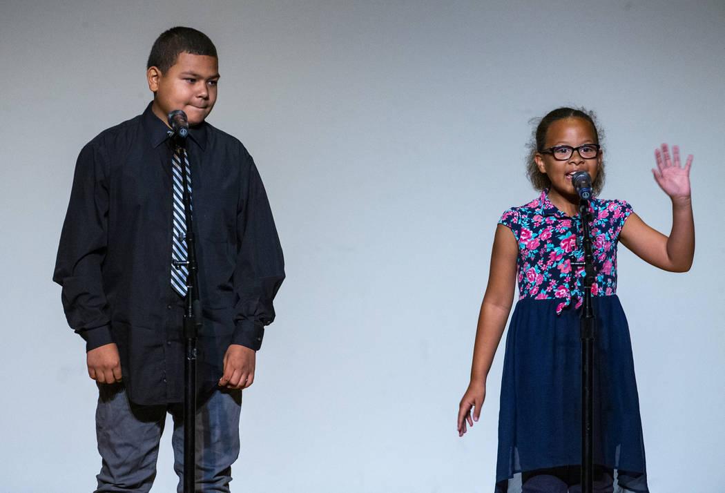 "Hummel Elementary School students Xavier Glover and Maya Gordon perform ""The legend of Roc ..."