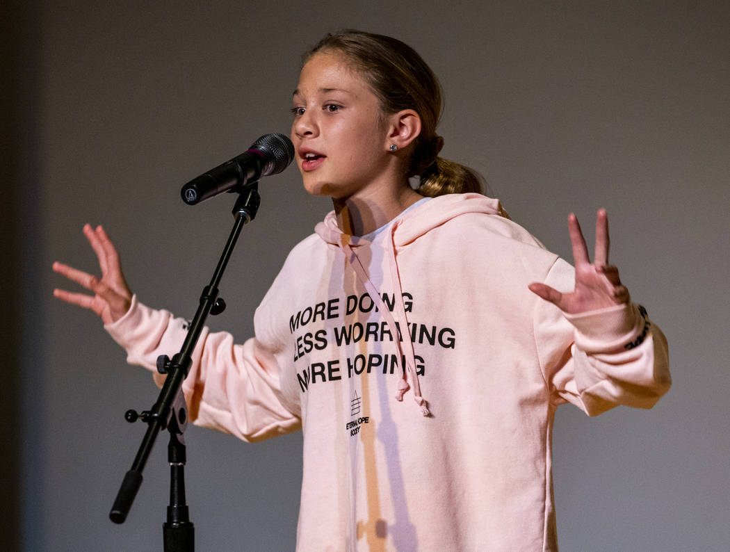 """Hummel Elementary School student Kyra Stinnett performs """"Oh No! Or, How My Science Project ..."""