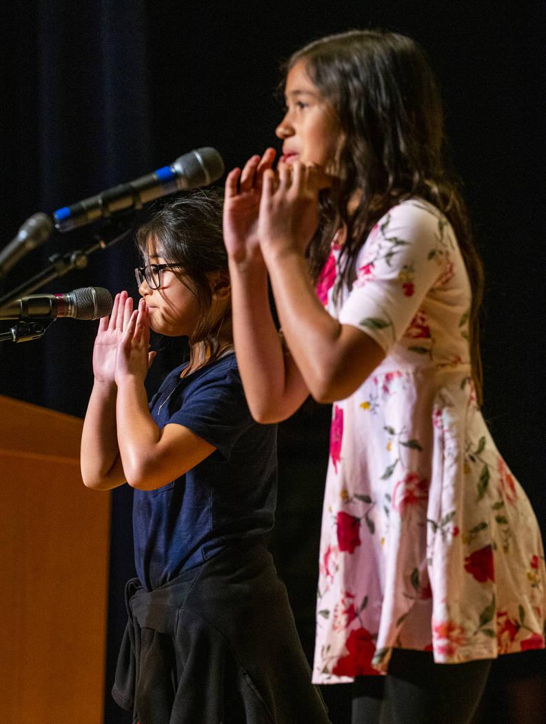 "Tanaka Elementary School students Celine Pham and Vivyana Yepes perform ""Tilly"" durin ..."