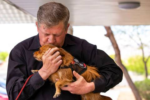 Ron Cochran, with dog Cookie, is seen Monday, April 22, 2019, in Las Vegas. (L.E. Baskow/Las Ve ...