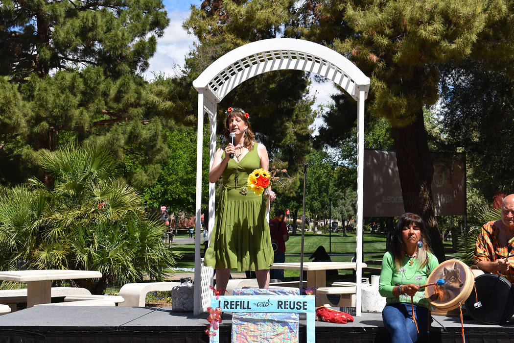 Jennifer Reed, sociology Ph.D. student at UNLV, officiates the Marriage to the Earth ceremony. ...