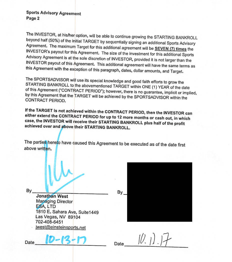 An Einstein contract signed by a client who invested $25,000 in 2017. The client's account reac ...