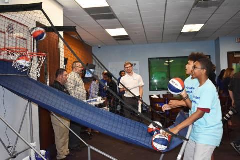 Teens play basketball in their renovated Teen Center on Wednesday, April 24. Rachel Spacek/Las ...