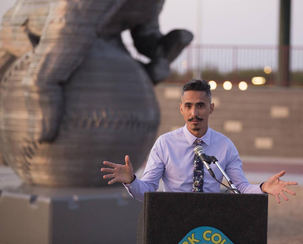 "Artist Luis Varela-Rico speaks during a dedication ceremony for his sculpture ""Organic Stu ..."