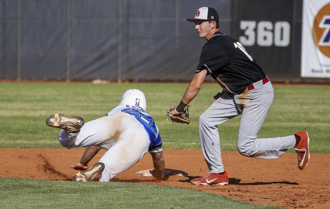 Basic outfielder Trace Evans (24) slides into second base as Desert Oasis infielder Colby Smith ...