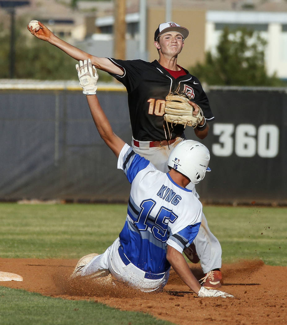 Desert Oasis infielder Colby Smith (10) throws to first base after forcing Basic outfielder Jad ...