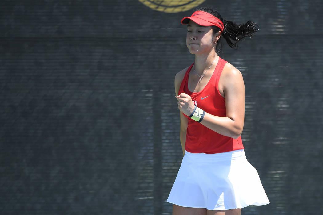 Aiwen Zhu, shown last month, finished 103-22 in singles at UNLV. (Justin Tafoya/NCAA)