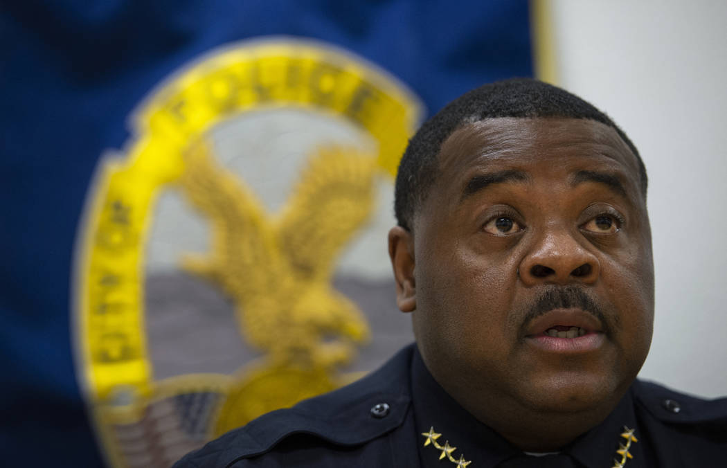 Henderson Police Department Acting Chief Thedrick Andres speaks during an interview at the Hend ...