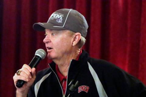 UNLV men's golf coach Dwaine Knight speaks at Las Vegas Country Club on Thursday, May 5, 2016, ...