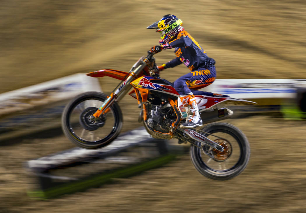 Red plate points leader Cooper Webb (2) leads the pack during the featured 450 SX class race at ...