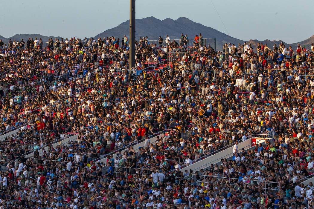 Fans pack the stands during the featured 450 SX class race at Sam Boyd Stadium on Saturday, May ...