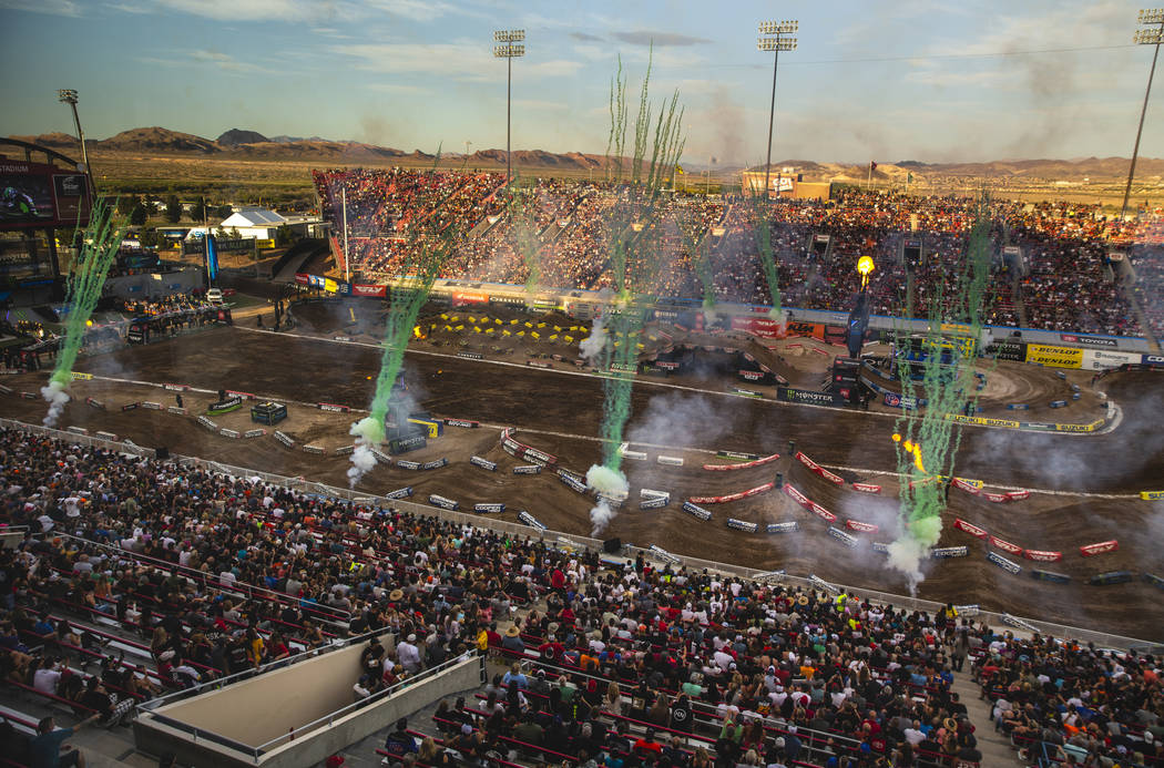 Fireworks explode before the featured 450 SX class race at Sam Boyd Stadium on Saturday, May 4, ...