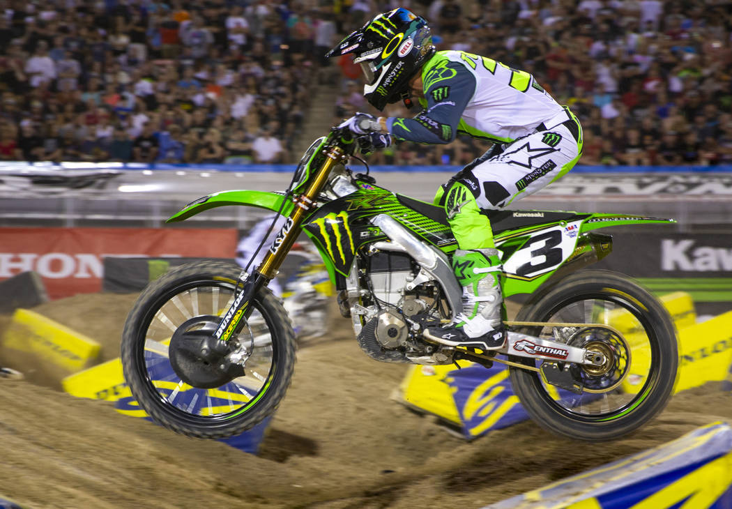 Eventual race winner Eli Tomac (3) navigates the track during the featured 450 SX class finals ...