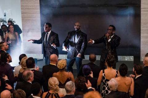 "Boyz II Men on the set of ""Long Shot."" (Philippe Bossé)"