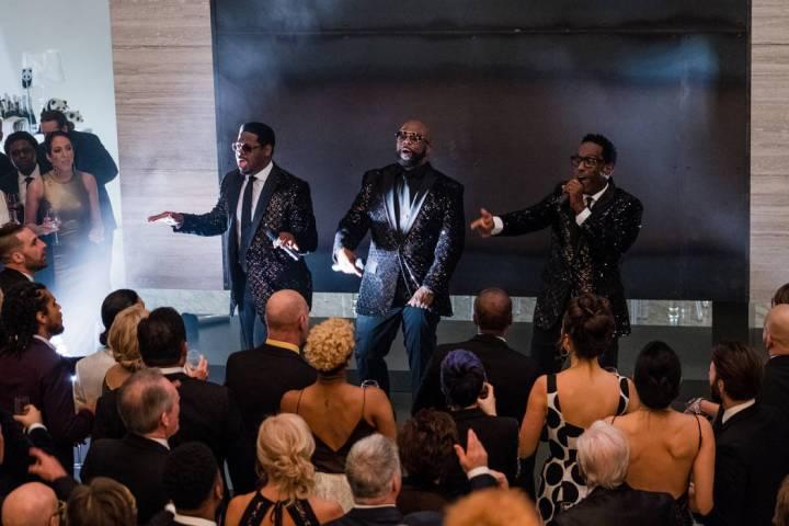 "Boyz II Men on the set of ""Long Shot."" (Philippe Bossé)"