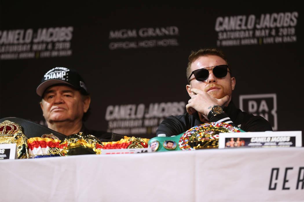"Saul ""Canelo"" Alvarez, right, with his trainer Jose ""Chepo"" Reynoso, during ..."