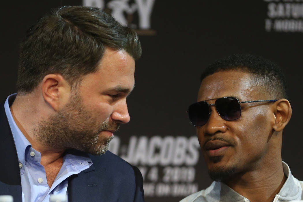 Boxing promoter Eddie Hearn, left, and boxer Daniel Jacobs, during a press conference at MGM Gr ...