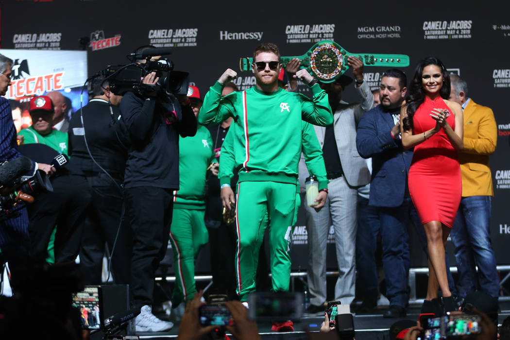 """Saul """"Canelo"""" Alvarez takes the stage for his weigh-in at T-Mobile Arena in Las Vegas ..."""