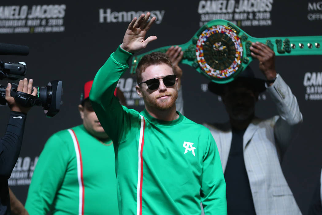 "Saul ""Canelo"" Alvarez takes the stage for his weigh-in at T-Mobile Arena in Las Vegas ..."