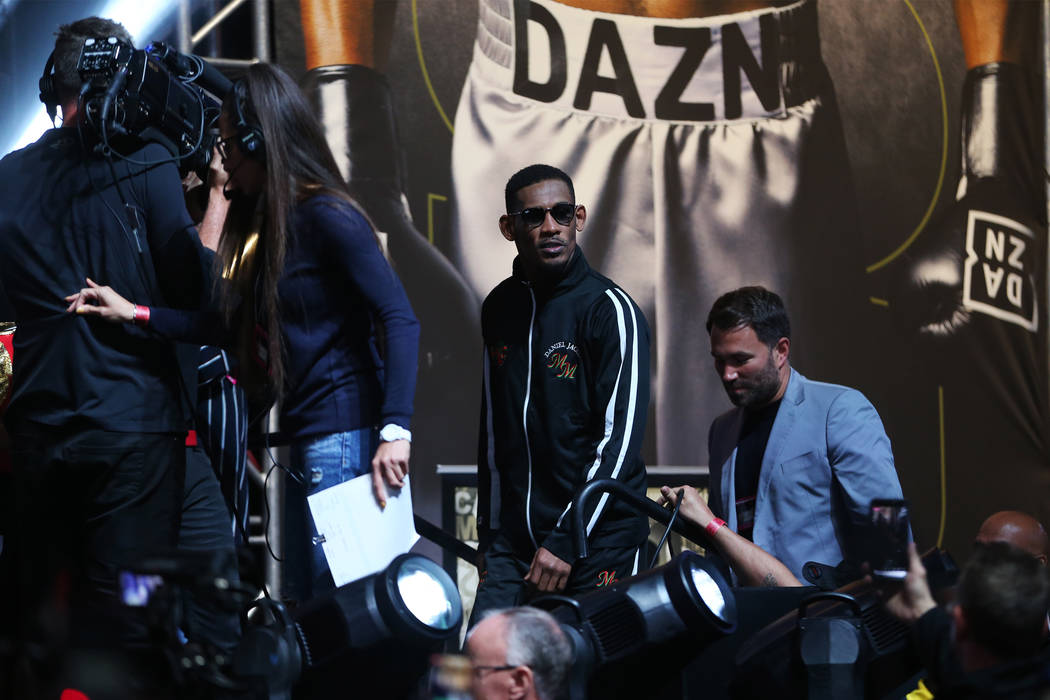 Daniel Jacobs takes the stage for his weigh-in at T-Mobile Arena in Las Vegas, Friday, May 3, 2 ...