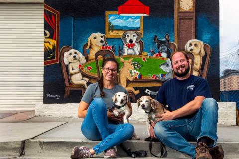 Jill Delozier with dog George and Adam Pennell with dog Molly own the Gamblers General Store wh ...