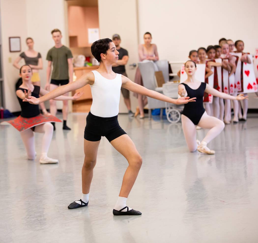 Academy of Nevada Ballet Theatre Student Julian Mirkia as Male Jr. Card in Alice (In Wonderland ...