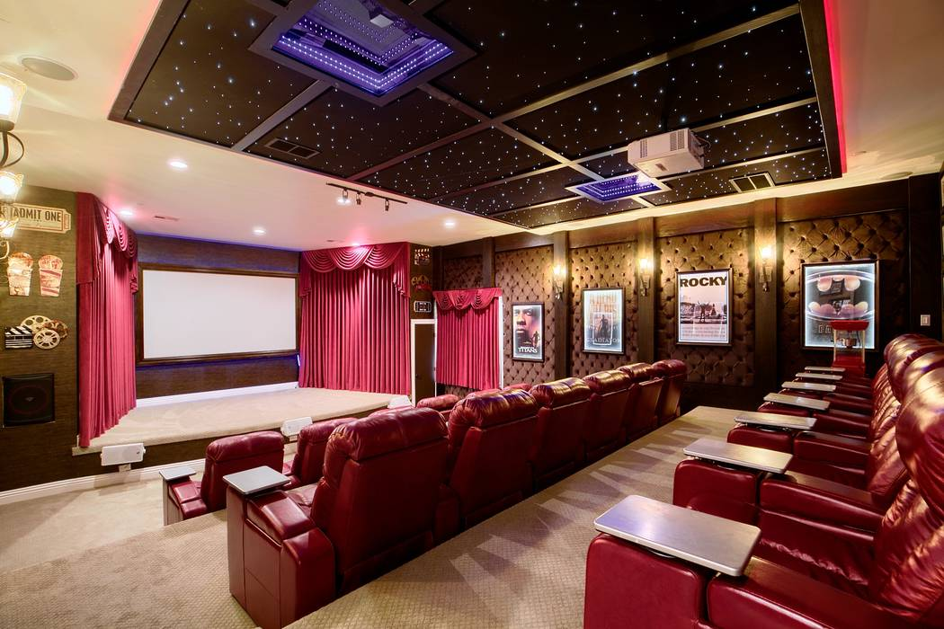 The basement houses a large home movie theater. (Signature Real Estate Group)