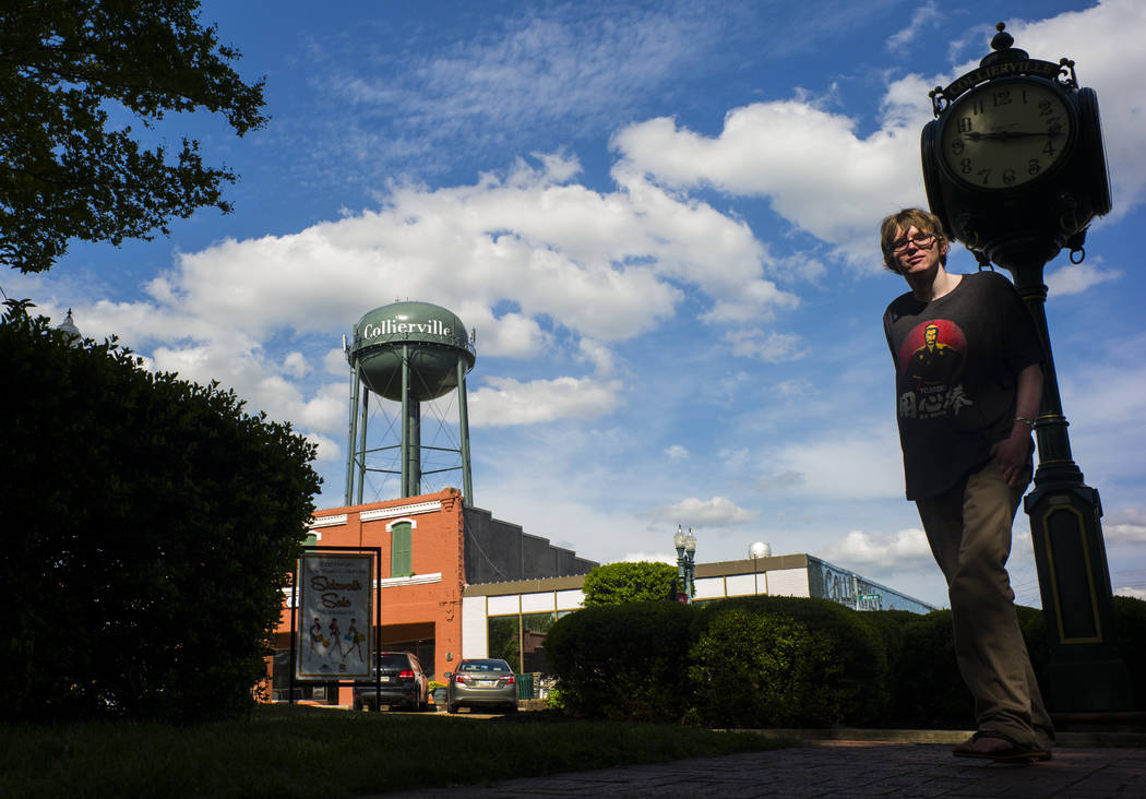 Grayson McClure walks around Town Square in Collierville, Tenn., on Wednesday, April 24, 2019. ...