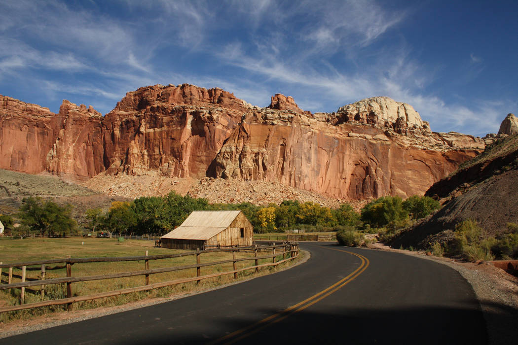 The Gifford Homestead Barn sits along the Scenic Drive, which starts at the visitor center and ...